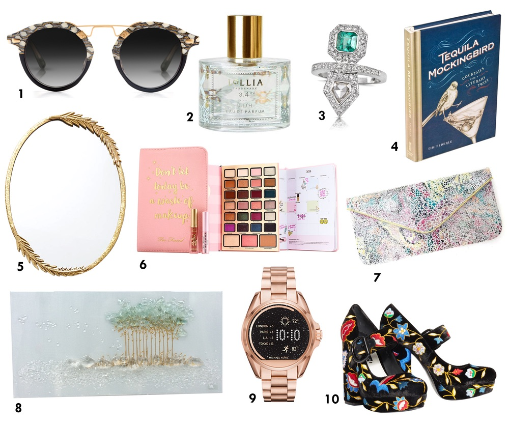 cest la vie holiday gift guide, KREWE Sunglasses, Lollia, Coastal Road, Anthropologie, Too Faced, best gifts of 2017