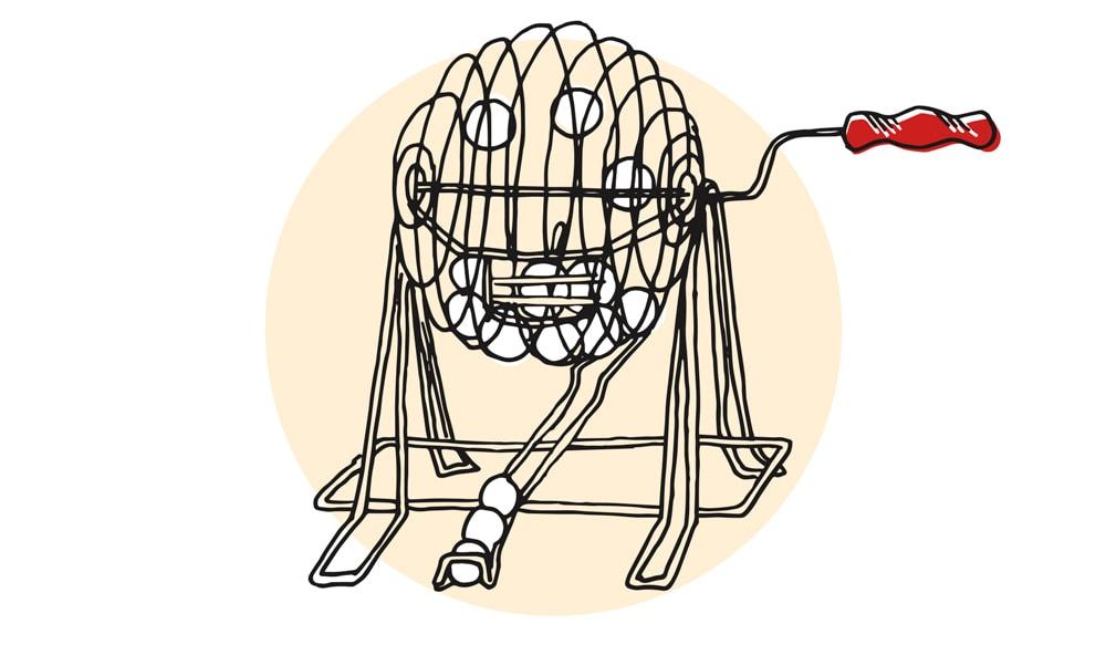 Bingo Ball Machine Illustration by Lucy Young Greg Cayea Deadliest Game on Earth