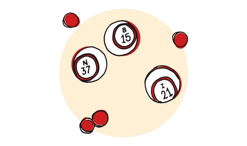 Bingo Balls and Bingo Chips Illustration by Lucy Young The Deadliest Game on Earth Greg Cayea