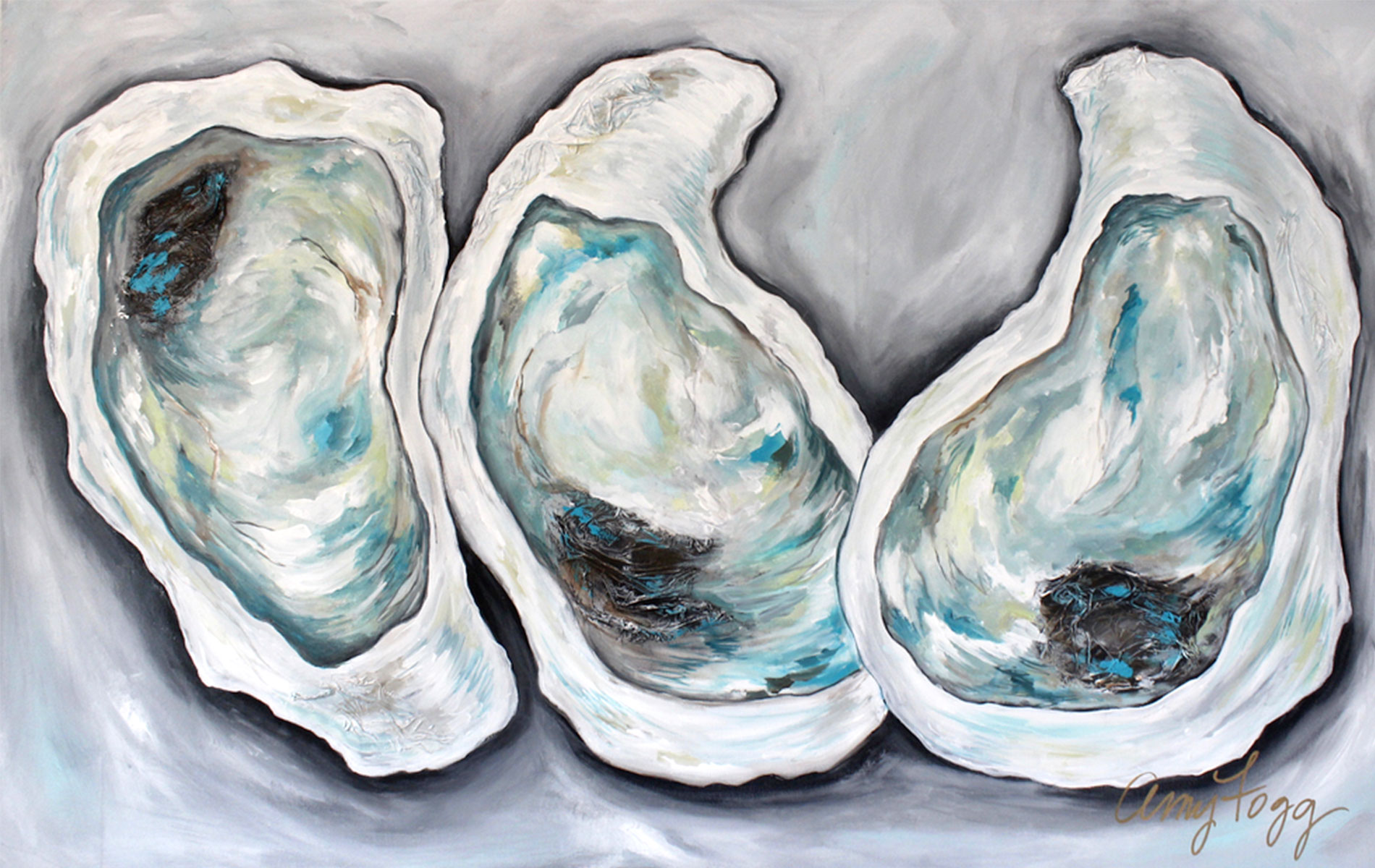 Beautiful blue and green hued oyster painting by artist Amy Fogg