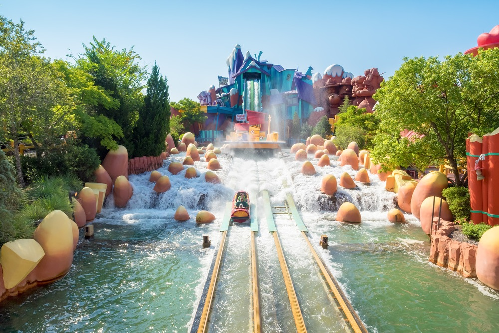 The Dudley Do-Right Ripsaw Falls ride at Universal Studios Islands of Adventure theme park in Orlando, Florida