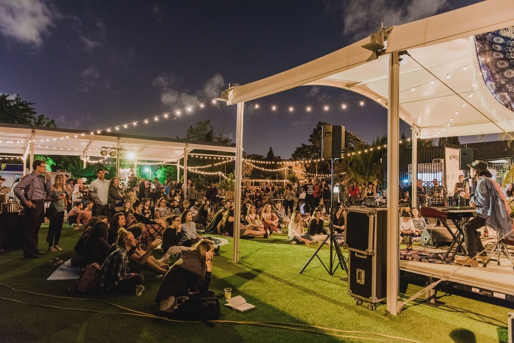 Live music events held at The Wynwood Yard bring in vibrant crowds. Photo courtesy of The Wynwood Yard