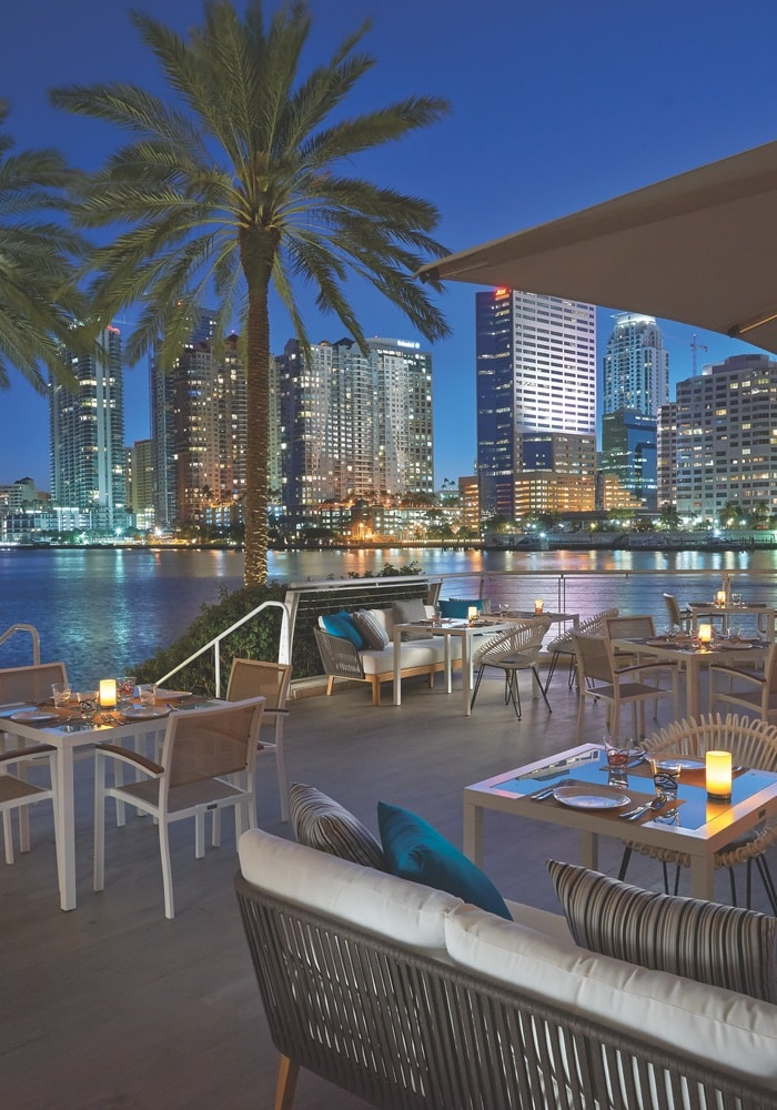 You can't beat the view from the terrace at La Mar. Photo courtesy of Mandarin Oriental Miami