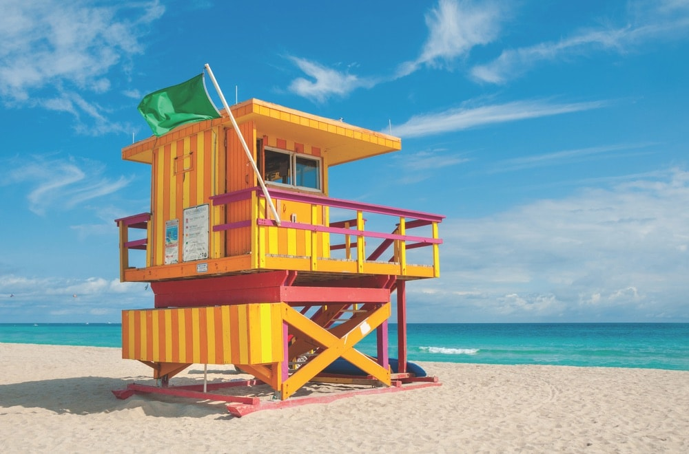 One of many colorful lifeguard towers on South Beach