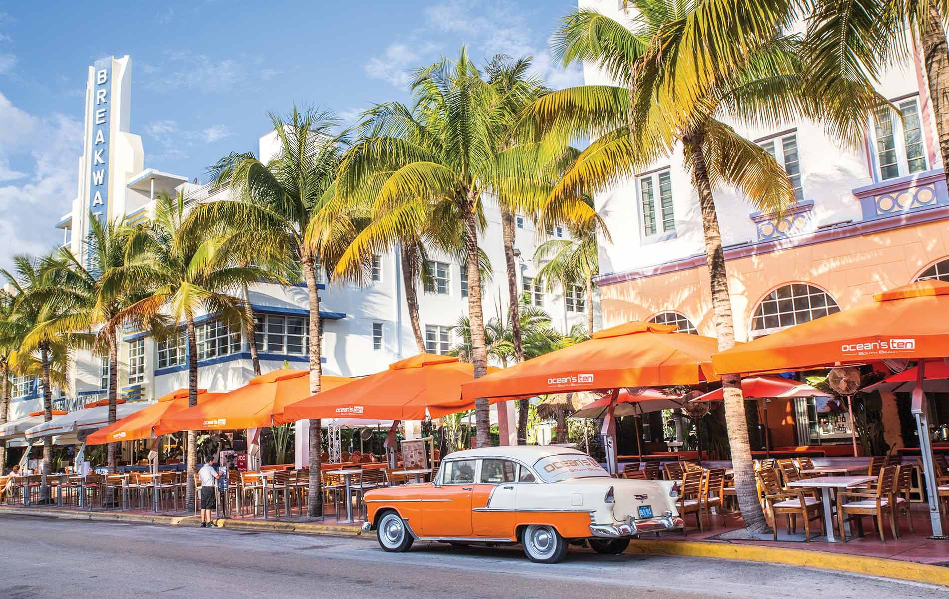 Ocean Drive is an iconic strip running along the Art Deco District of Miami's South Beach neighborhood. Photo by LittleNY / Shutterstock