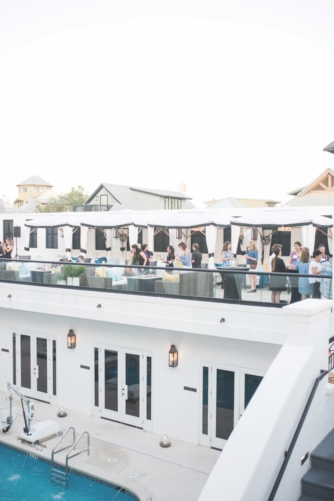 Attendees of The Southern C Retreat, enjoyed a chic cocktail reception at Havana Beach Rooftop Lounge at The Pearl hotel in Rosemary Beach.