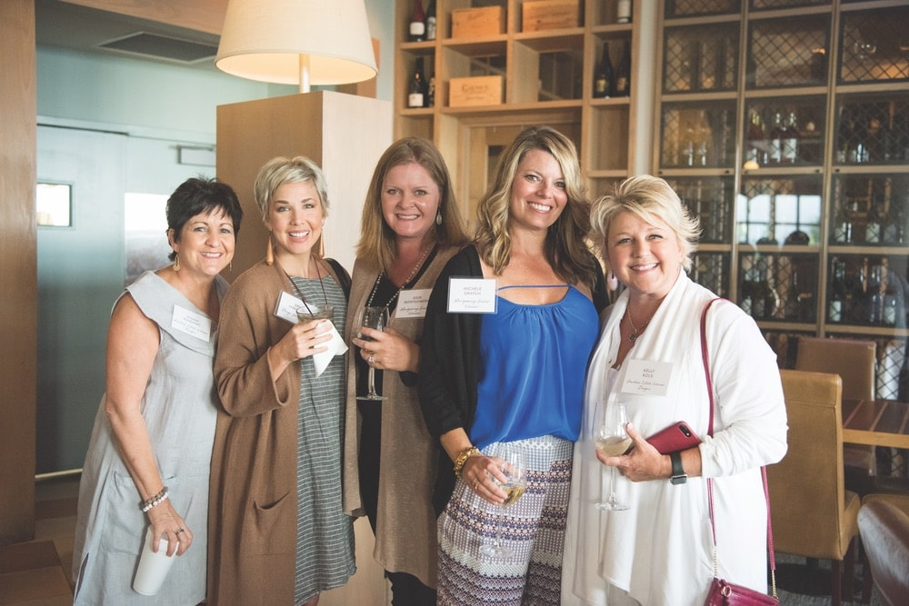Joann Kandrac (Kandrac-Kole Interior Designs), Erin Loechner (Design for Mankind), Julie Montgomery (Montgomery Gratch Interiors), Michele Gratch (Montgomery Gratch Interiors), and Kelly Kole (Kandrac-Kole Interior Designs) attend The Southern C Retreat in Santa Rosa Beach, Florida, WaterColor Inn
