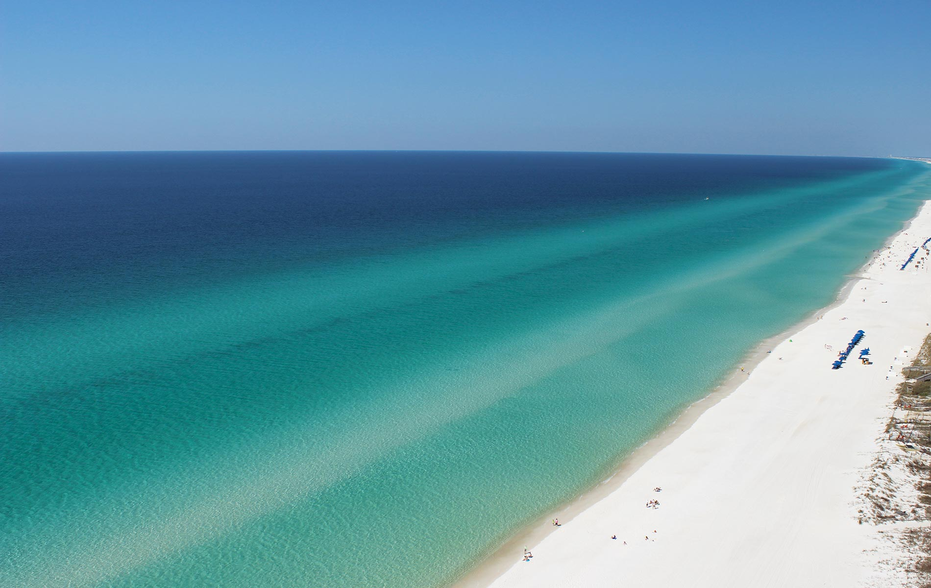Aerial view of the pristine Gulf coast beaches in the panhandle of Florida