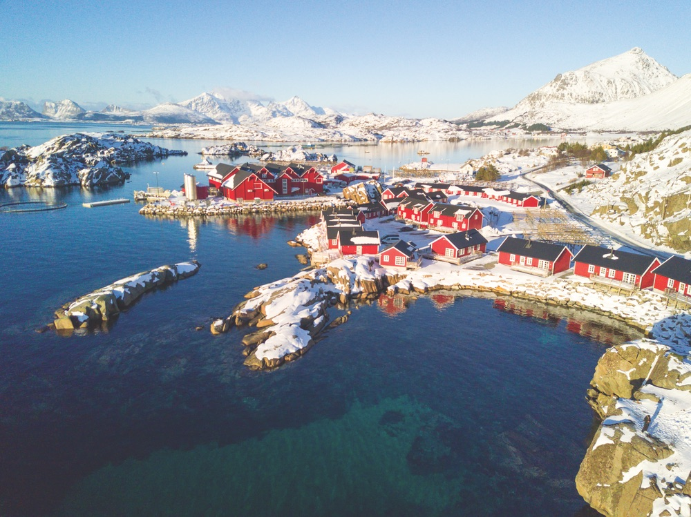 Aerial view of the picturesque Lofoten Islands in northern Norway