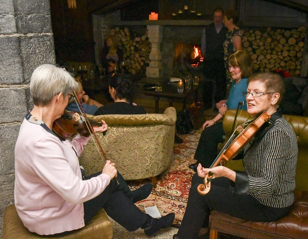 Fiddlers play at the grand opening of Baronial Hall at Kilkea Castle on October 27, 2017