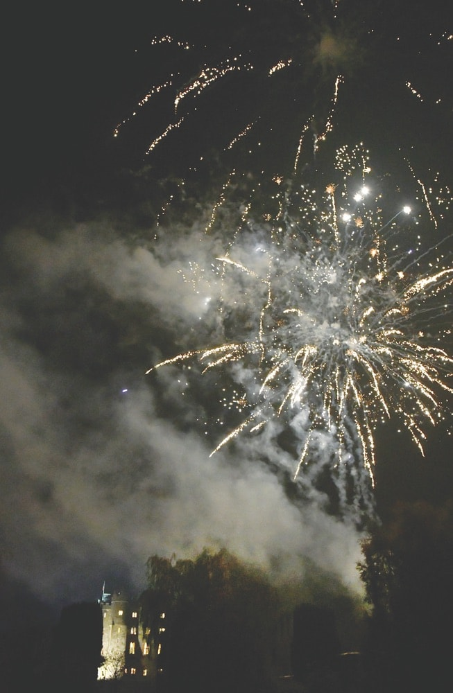 Fireworks display to celebrate the grand opening of Baronial Hall