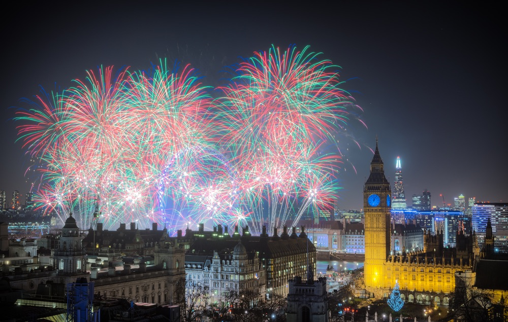 London New year fireworks celebrations