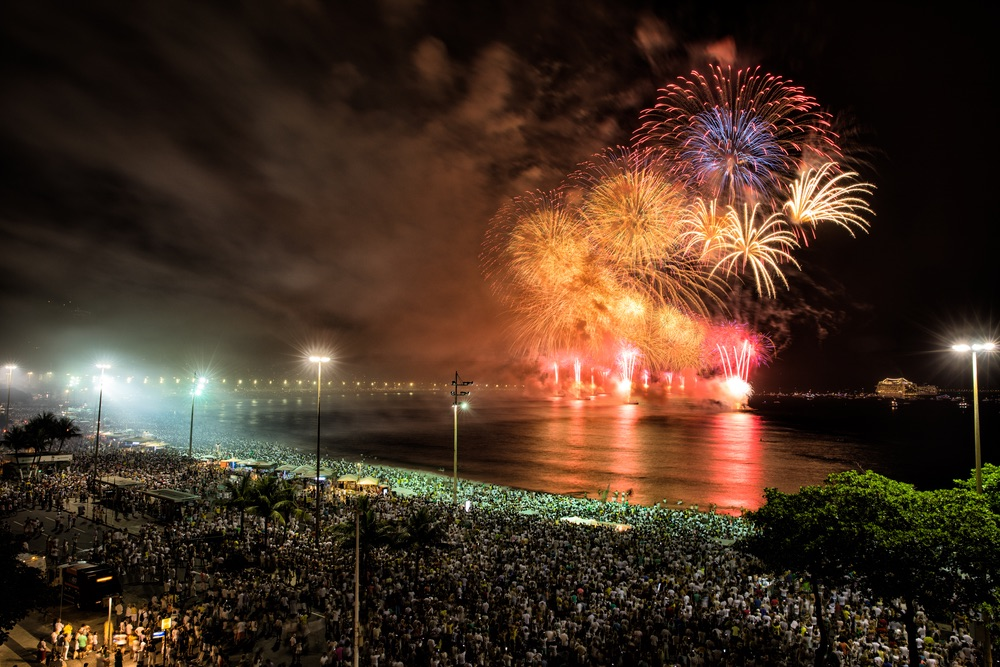 Spectacular fireworks display at Copacabana beach new years eve, Brazil
