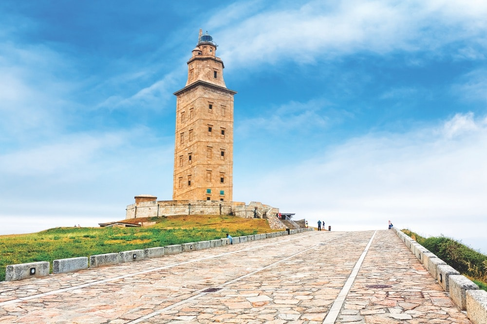 The Tower of Hercules lighthouse at La Coruña is one of many sites to see in Galicia. It is thought to be modeled after the Lighthouse of Alexandria.