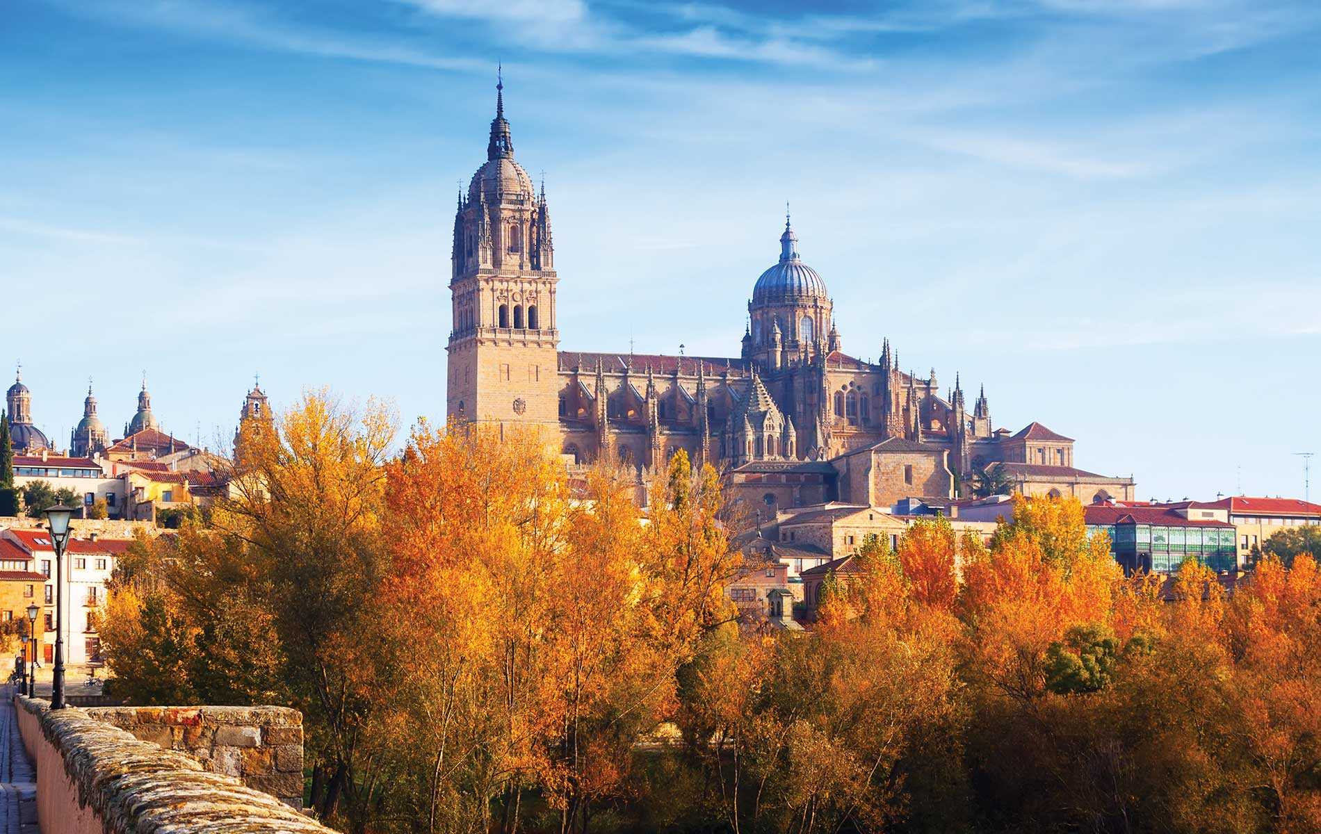 A lovely autumn view of the Tormes River and the New Cathedral in Salamanca, Spain