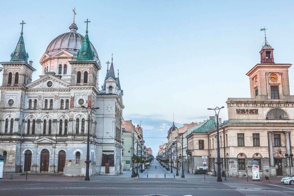 Lodz's elegant Piotrkowska Street, known for its shops, restaurants, and historic buildings