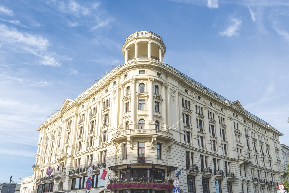 Hotel Bristol, a historic neo-Renaissance-style luxury hotel near the Presidential Palace on Krakowskie Przedmiescie in Warsaw.