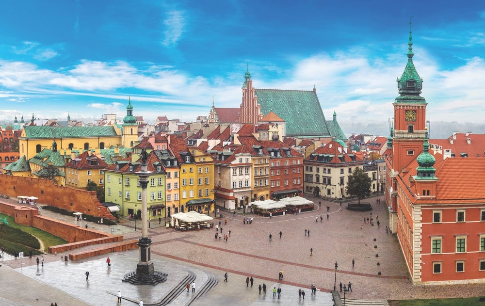 A panoramic view of Warsaw on a summer day