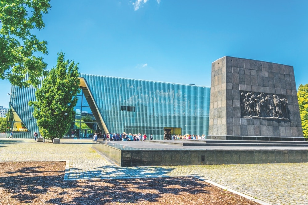 A memorial at the entrance to the POLIN Museum of the History of Polish Jews, located on the site of the former Warsaw Ghetto