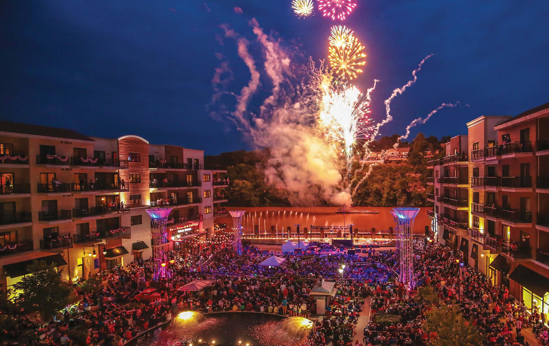 Branson Landing is a popular outdoor music venue in the city; the complex also includes a Hilton hotel, condos, over a hundred retail stores, restaurants, and more. Photo courtesy of Branson CVB