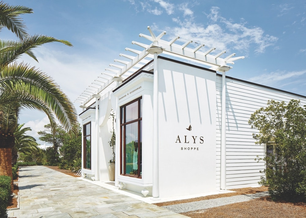 Side view of the outside of The Alys Shoppe in Alys Beach, Florida