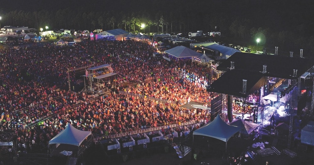 Aerial view of the crowd watching a country music show at Pepsi Gulf Coast Jam festival in Panama City Beach, Florida