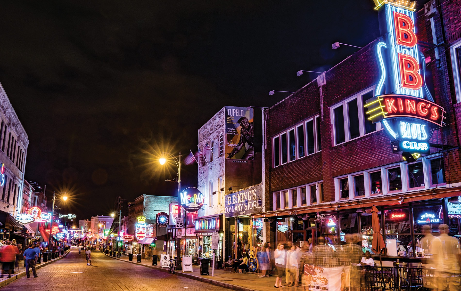 Beale Street in Memphis, Tennessee, is a popular destination for dining and live music. VIE Magazine, March 2018