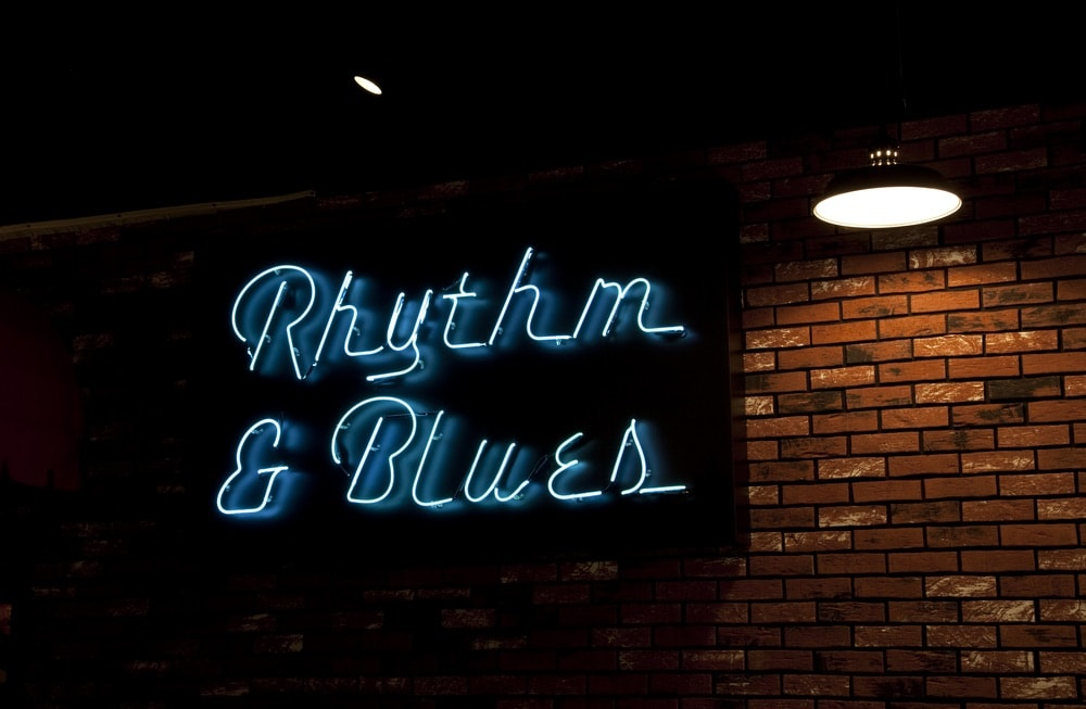 Rhythm and Blues neon sign at the Alabama Music Hall of Fame