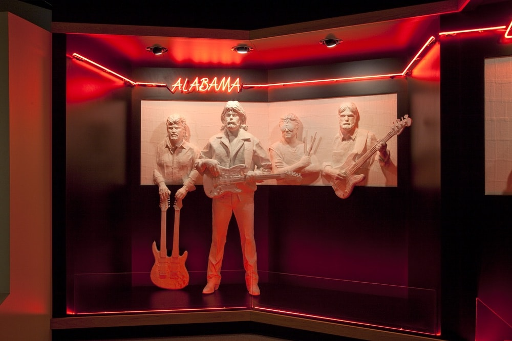 Sculpture of the members of Alabama at the Alabama Music Hall of Fame, designed by Rich Griendling