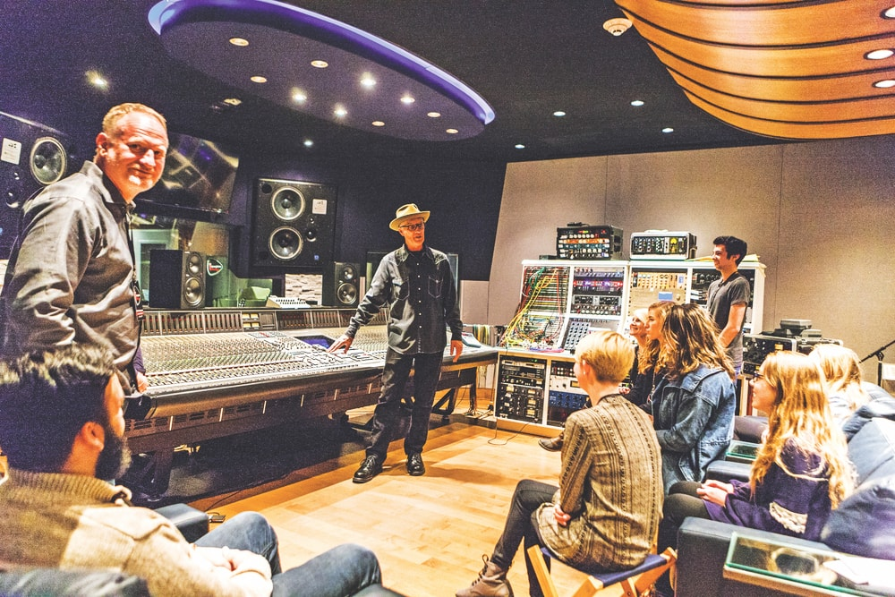 Steve Fishell, a Grammy-winning producer and the founder of Imagine Recordings, explains the recording process to attendees at world-renowned Sound Stage Studios on Music Row.
