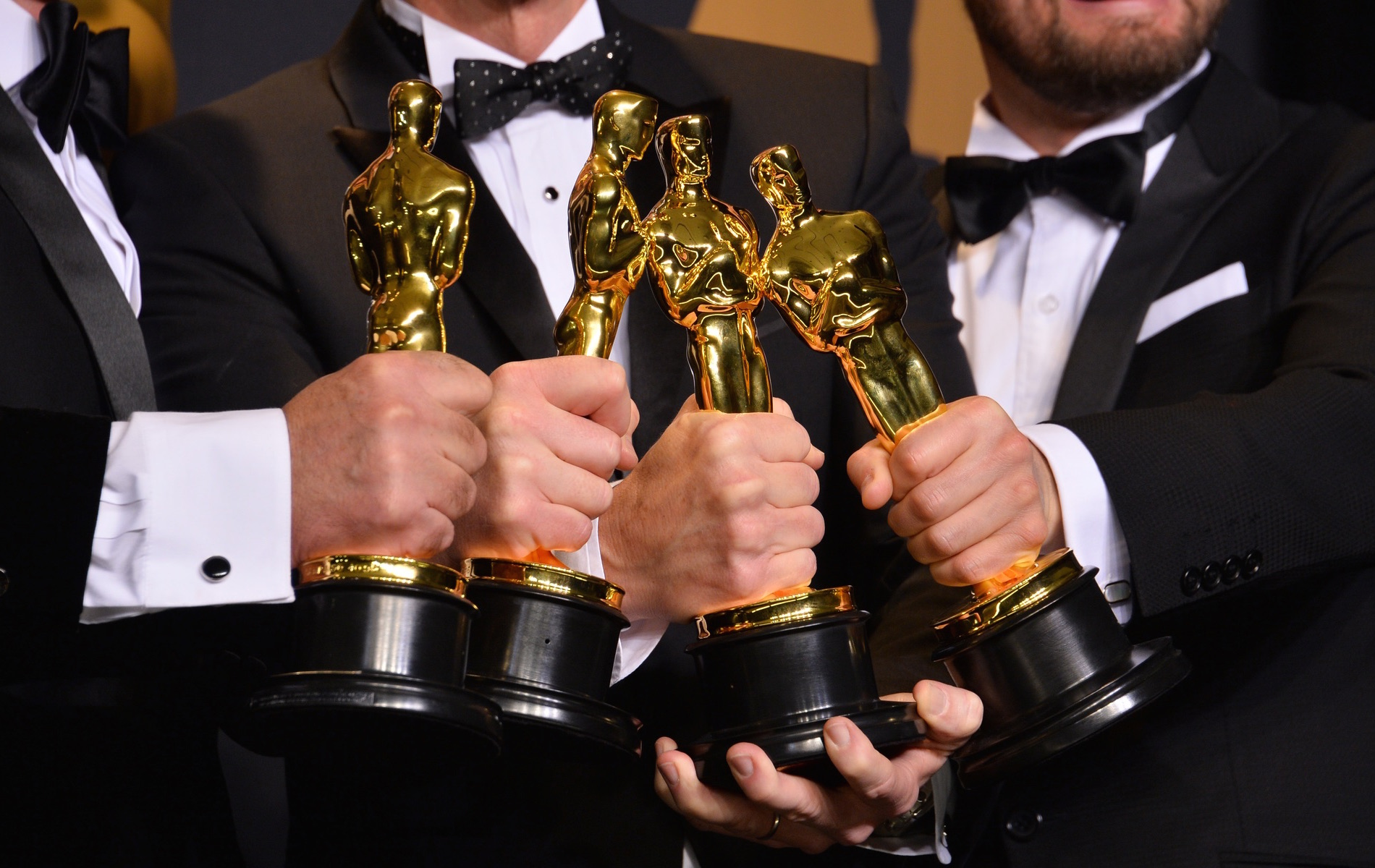 Winners holding their Oscar trophies in the photo room at the 89th Annual Academy Awards at the Dolby Theatre, Los Angeles. Photo by Jaguar PS / Shutterstock.com