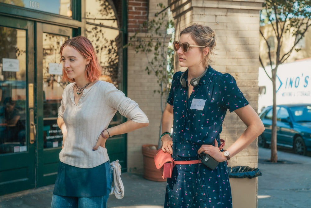 Saoirse Ronan and Greta Gerwig on the set of LADY BIRD. Photo by Merie Wallace, courtesy of A24