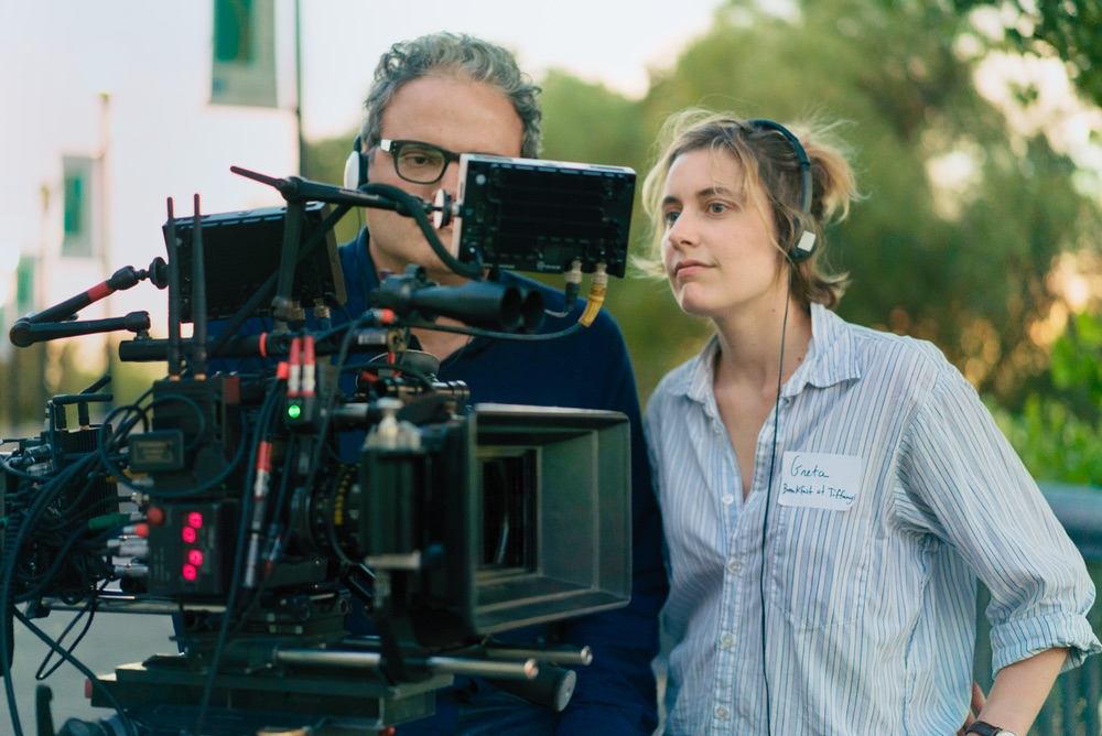 Sam Levy and Greta Gerwig on the set of LADY BIRD. Photo by Merie Wallace, courtesy of A24