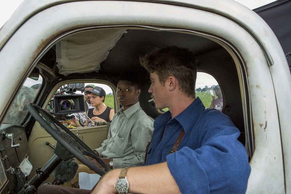 On set of the film MUDBOUND