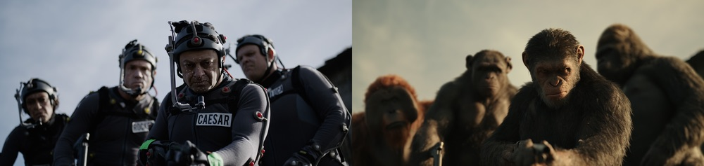 "L-r, Karin Konoval, Terry Notary, Andy Serkis and Michael Adamthwaite on the set of Twentieth Century Fox's ""War for the Planet of the Apes."" Photo courtesy of 2017 Twentieth Century Fox FIlm Corp."