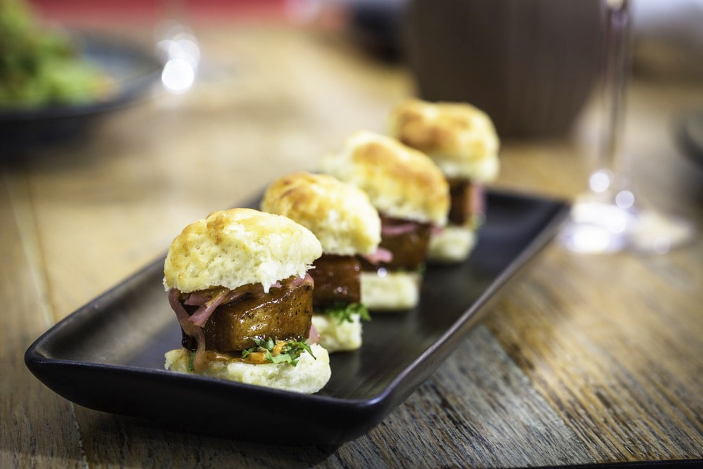 Sonoma County, California; Plate of 4 small biscuits from Chalkboard