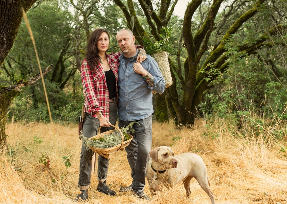 Sonoma County, California; Katina and Kyle Connaughton with farm dog Murray at Single Thread Farm