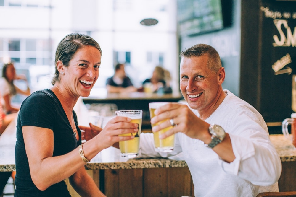 Couple enjoying a beer at D9 Brewing Company in Charlotte, North Carolina