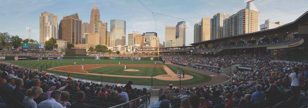 Charlotte Knights Baseball at BBT Ballpark with Charlotte, North Carolina skyline in the distance
