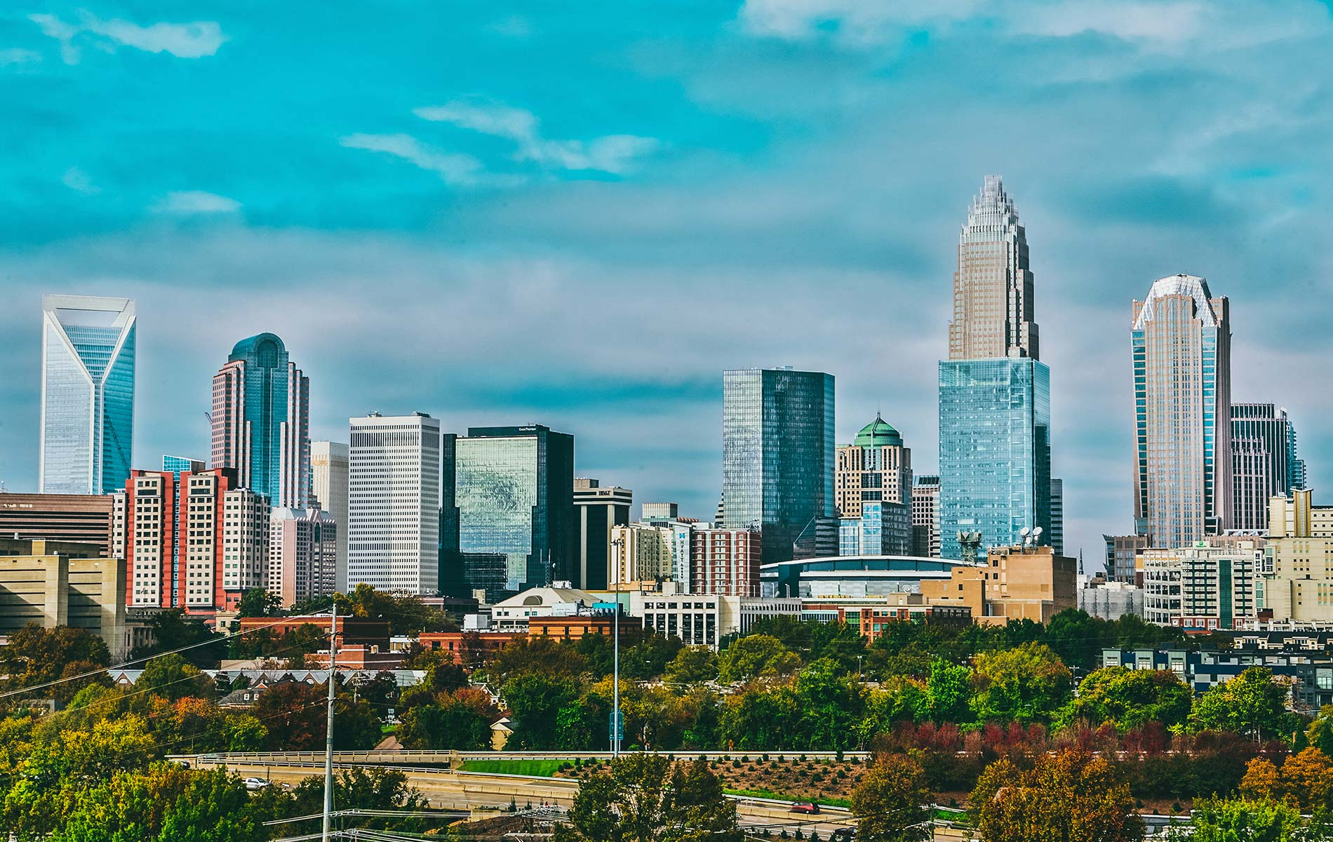 View of the downtown skyline of Charlotte, North Carolina during the day