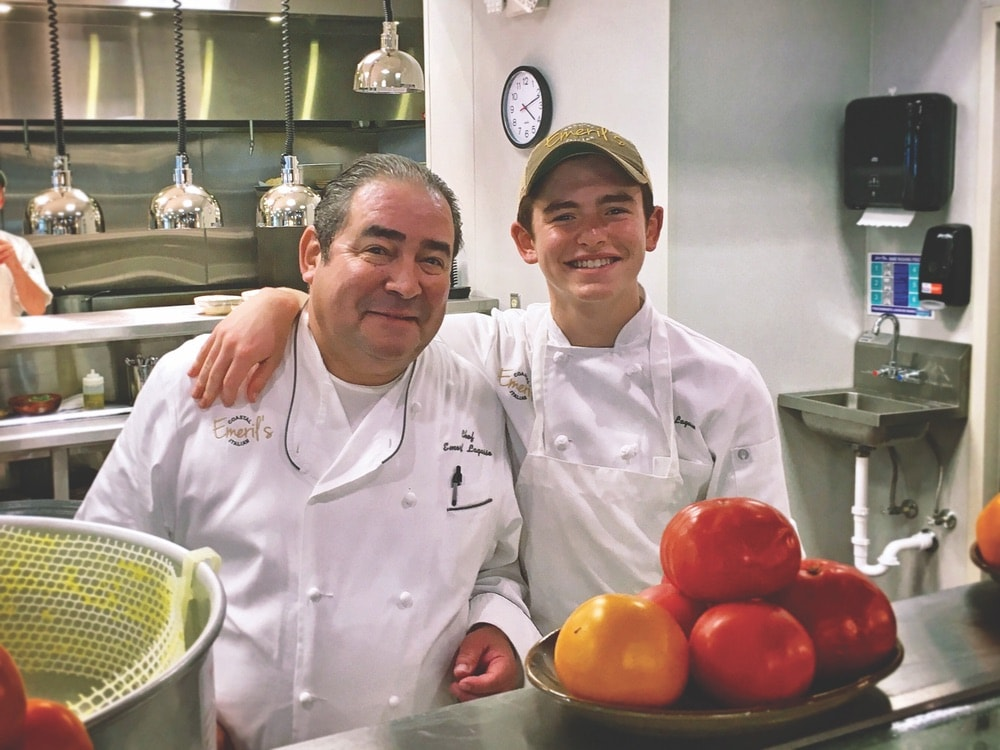 Emeril and EJ Lagasse in the kitchen at Emeril's Coastal Italian at Grand Boulevard in Miramar Beach, Florida