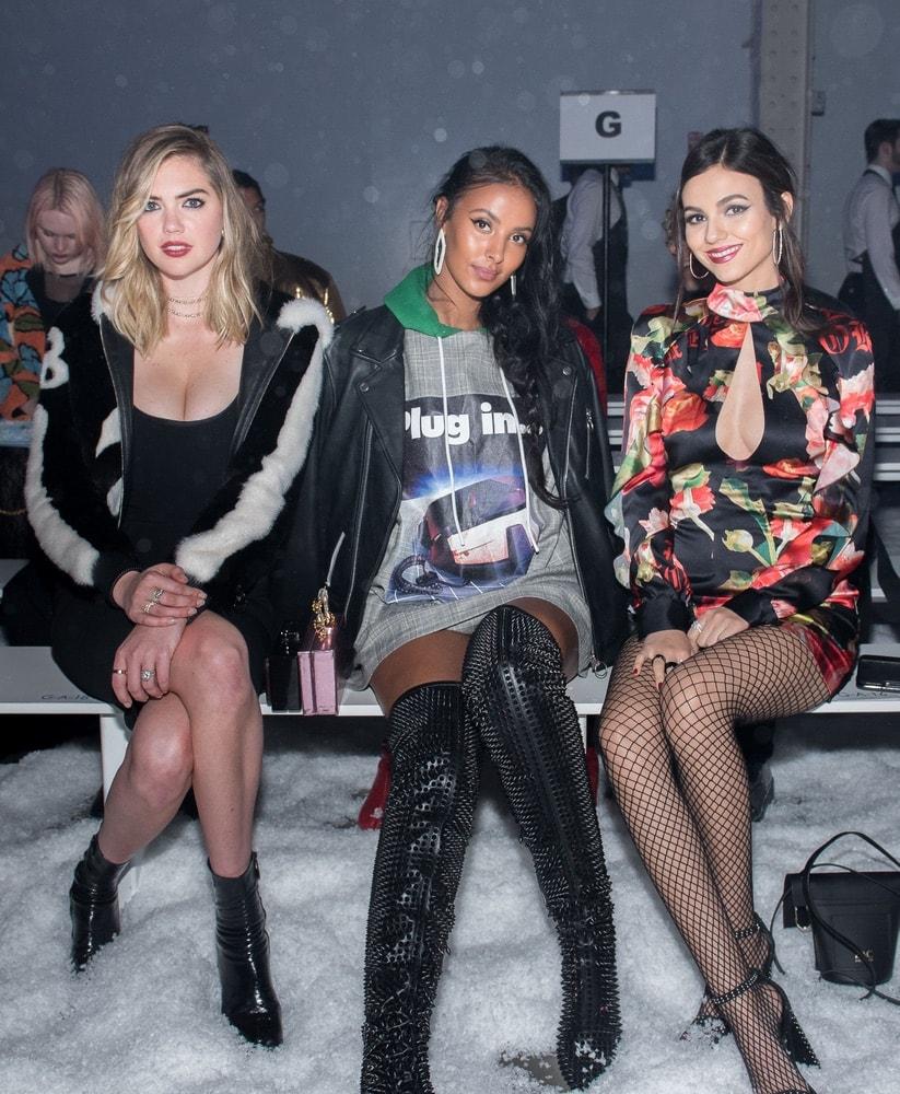 Kate Upton, Maya Jama, and Victoria Justice at Philipp Plein