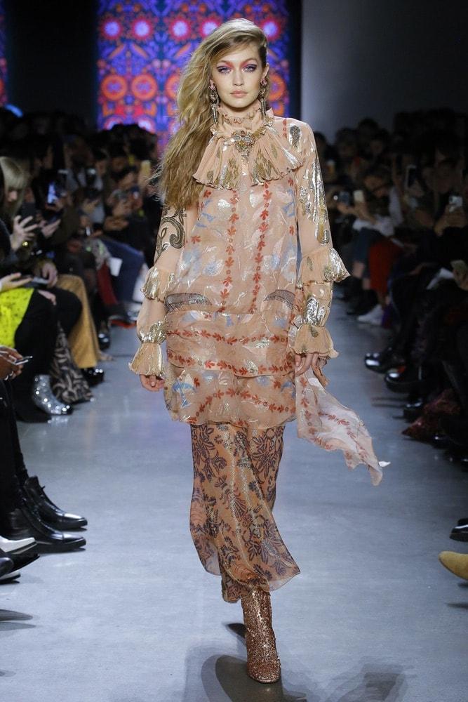 Gigi Hadid walking down the runway at Anna Sui's show at NYFW F/W 2018