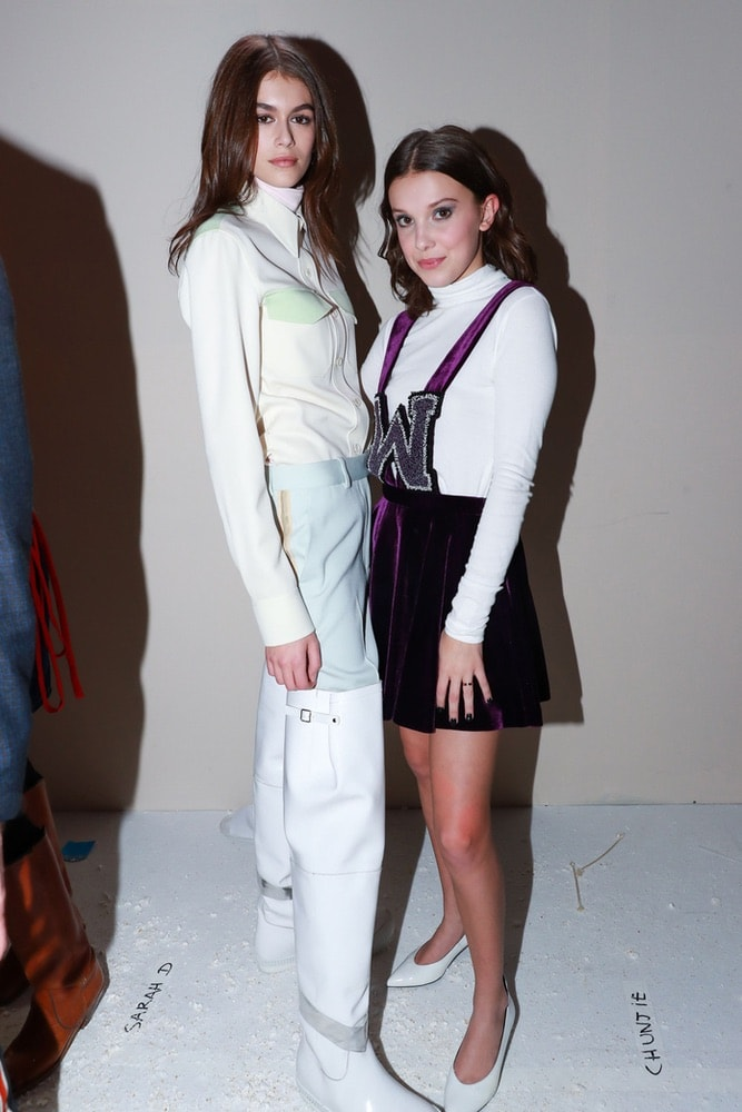 Kaia Gerber and Millie Bobby Brown at Calvin Klein's NYFW F/W 2018 show