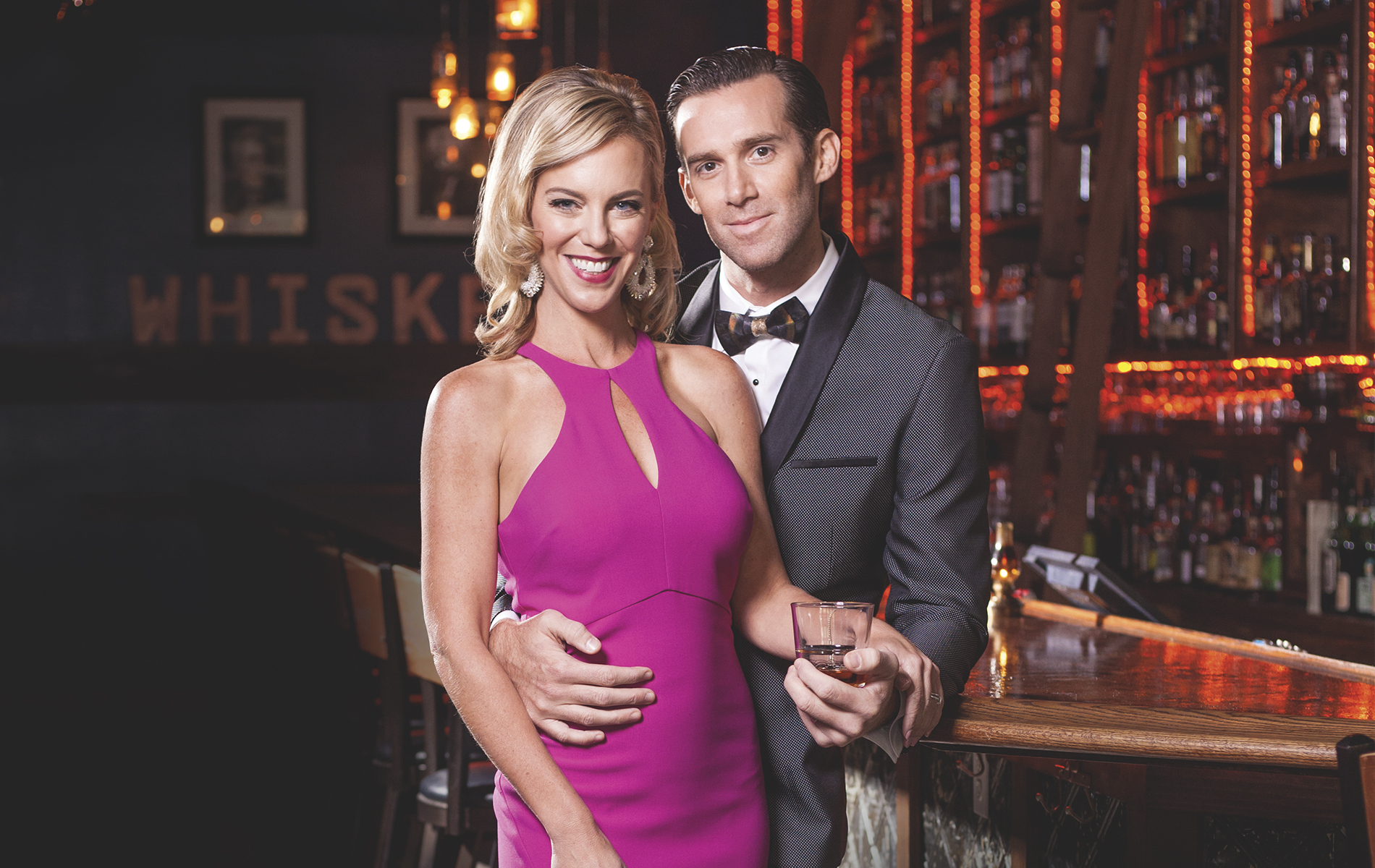 Peat & Pearls celebrity guests Brooke Parkhurst and James Briscione—TV personalities, culinary instructors, and authors of Just Married and Cooking, The Great Cook, and The Flavor Matrix—at Old Hickory Whiskey Bar in Pensacola, Florida