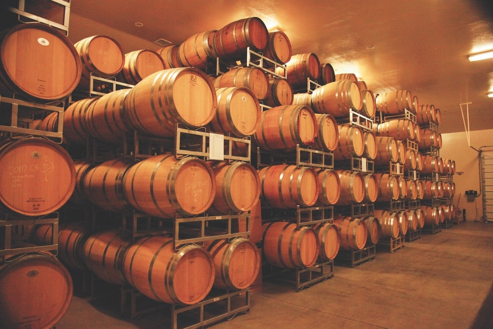 Barrels of Wine in the Two Rivers Winery.