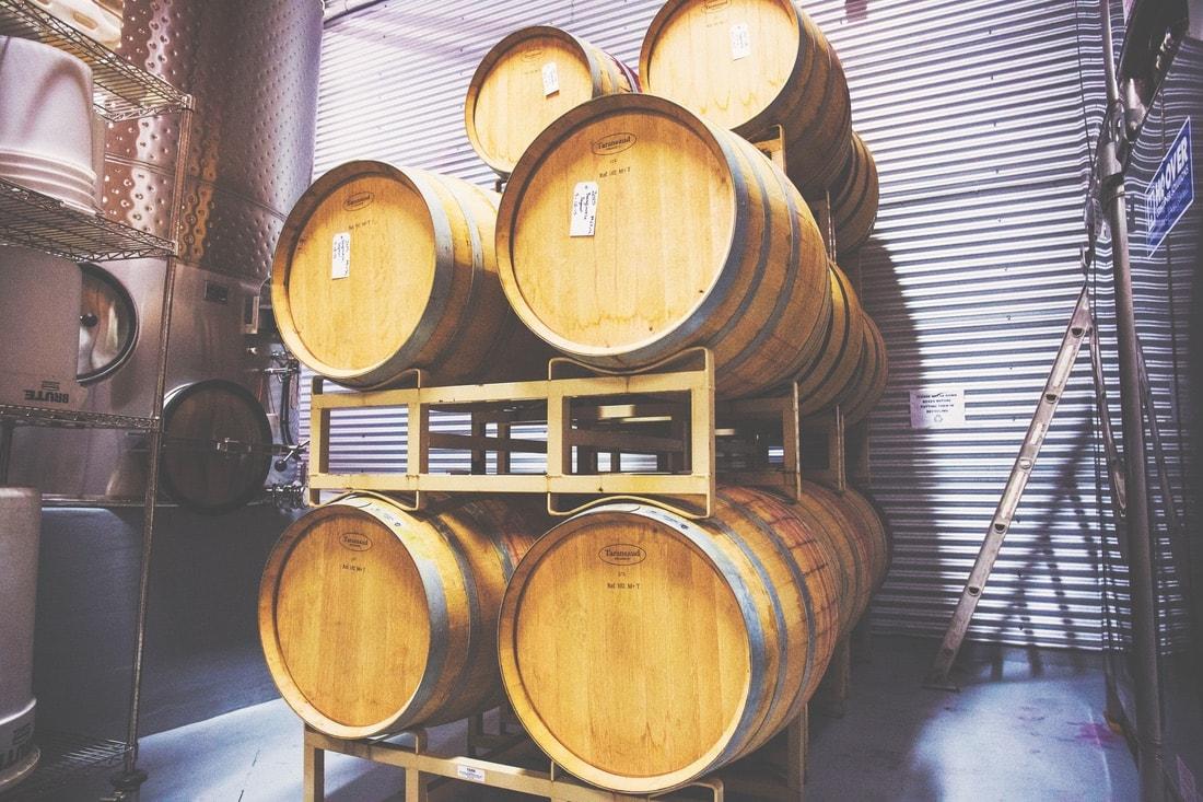 Barrels of wine at McPherson Cellars.