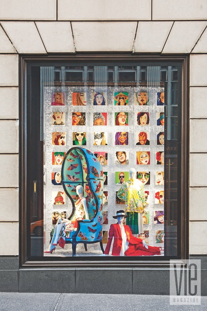 Longshore's art filled the iconic Bergdorf Goodman windows on Fifth Avenue this past January.