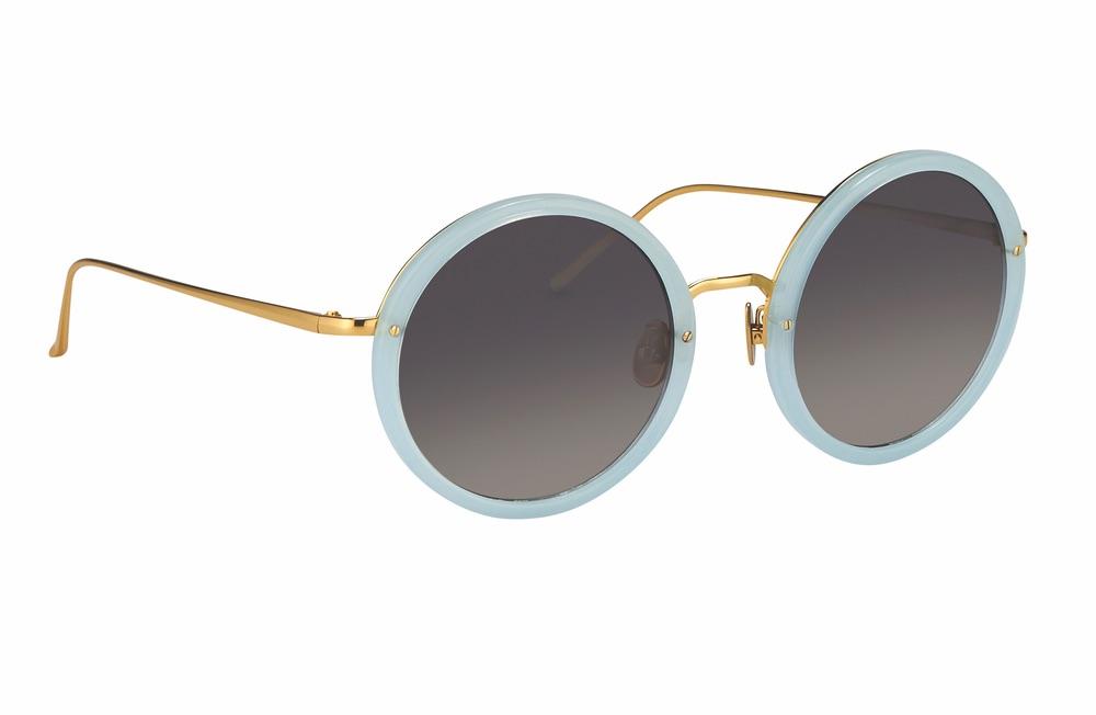 Linda Farrow 239 C48 Round Sunglasses in Spearmint