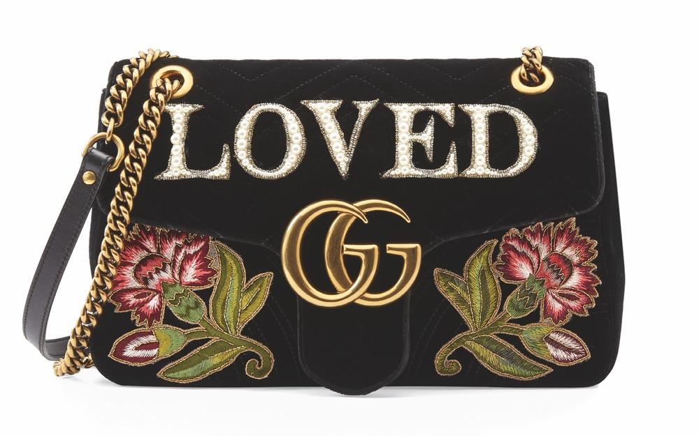 GG Marmont Medium Bag in Black Chevron Velvet